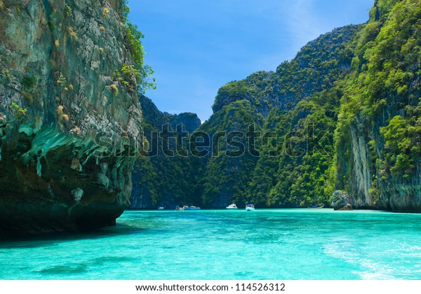 Cliff and the clear sea Phi Phi Leh south of Thailand