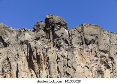 Cliff created after volcano eruption