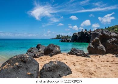 Cliff diving at Waimea Bay in Haleiwa, Hawaii.