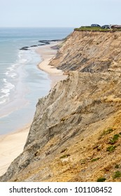 Cliff erosion at the coastline