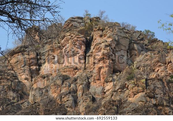 Cliff of Female Hill in Tsodilo Hills, UNESCO World Heritage Site, Botswana, Africa
