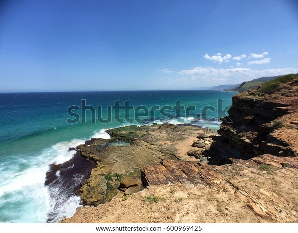 Cliff in Garie Beach, New South Wales.