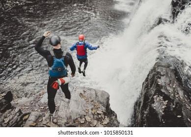cliff jumping coasteering wales river