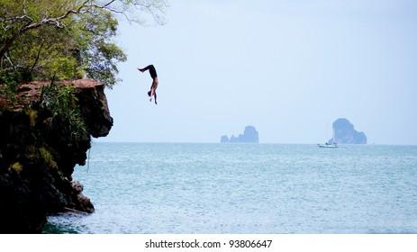 Cliff jumping at Rai lay, Krabi, Thailand