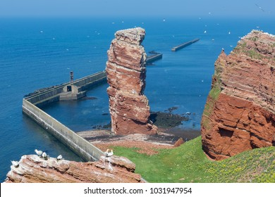 Cliff named Lange Anna at western point of island Helgoland, Germany
