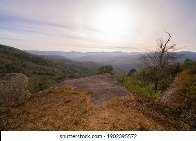 Cliff in National Park, Thailand. Mountains hill view with park landscape. Tourist attraction in sunset skyline. Adventure field.