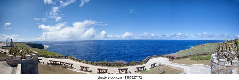a cliff at the north end of Saipan.