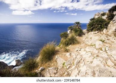 The cliff overlooking the Mediterranean Sea on Cap de Formentor on Balearic Island Majorca