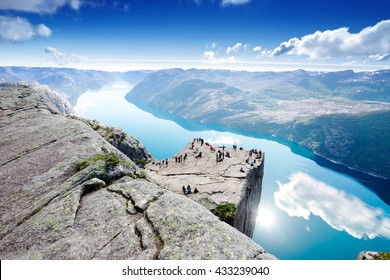 Cliff Preikestolen at fjord Lysefjord - Norway - nature and travel background