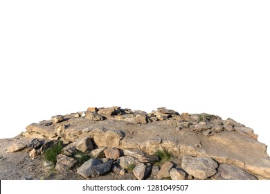 Cliff rock stone located part of the mountain rock isolated on white background.