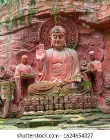Cliff stone carvings of Sakyamuni Buddha in Mount Emei, Sichuan Province, China
