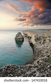 Cliff at sunset in Governor's Harbour, Eleuthera, Bahamas, Caribbean