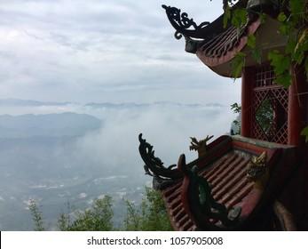 Cliff top Pavilion in Bamboo Sea, Yibin