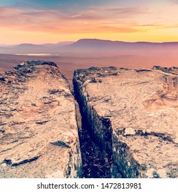 Cliff top views at sunset in the Grampians National Park, Australia with retro style filter effect