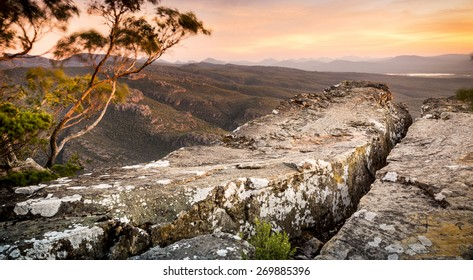 Cliff top views at sunset in the Grampians National Park, Australia