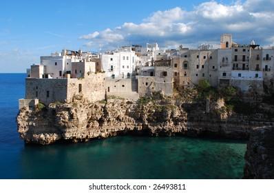 Cliff Village at Polignano a Mare, Bari, Apulia, Italy