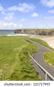 cliff walk with a  beautiful view over the Ballybunion beach and cliffs on the Atlantic coast in Ireland