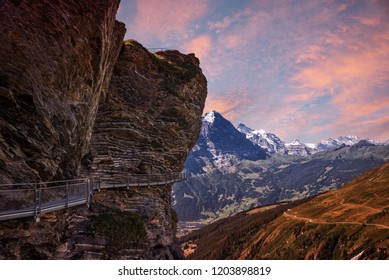 cliff walk at grindelwald first mountain, bernese oberland sunrise landscape. beautiful tourist attraction switzerland.