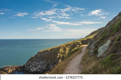 Cliff walk on Howth Head peninsula near Dublin, Ireland.