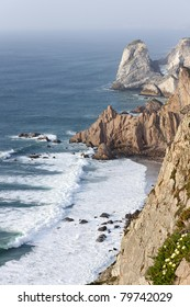 Cliff at the weastern point of Europe (Cabo da Roca), this is the western extreme point of the European continent.