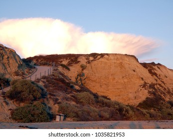 Cliffs along the Pacific Ocean at sunset