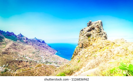 Cliffs of Anaga mountains around Taganana village, Tenerife island, Canarias Spain banner