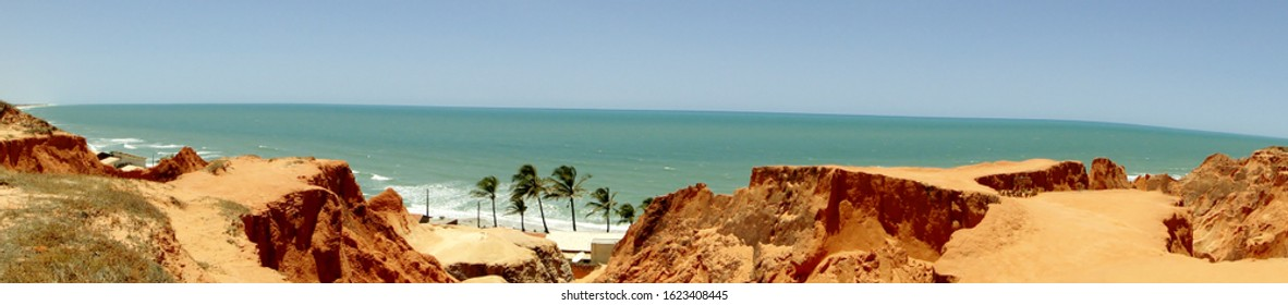 Cliffs in Beberibe, Ceara, Brazil, sands of Morro Branco beach.