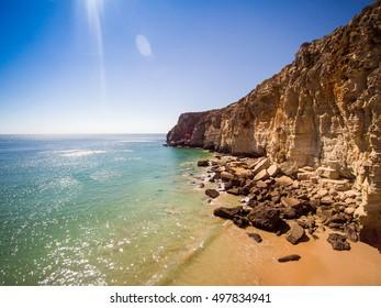 Cliffs of Beliche Beach, Saint Vincent Cape, Algarve, Portugal
