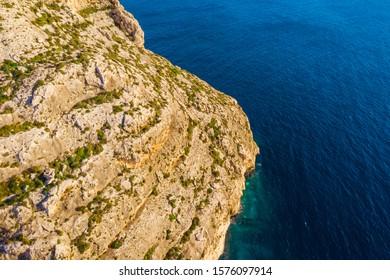 Cliffs and blue sea. Blue grotto. Winter. Malta island