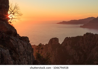 Cliffs of the Calanche and the Golf of Porto at the island of Corsica, France, during sunset.