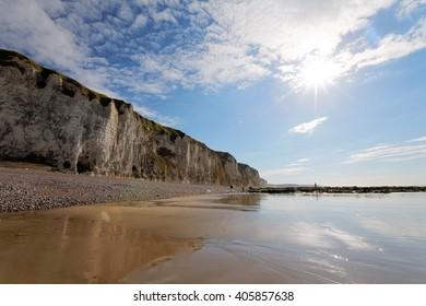 Cliffs at Dieppe beach, France