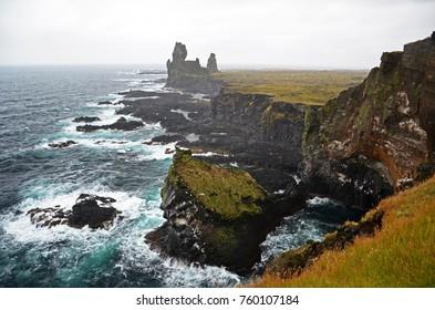 Cliffs of Dritvik Djúpalónssandur in Icelandic Reykjanes Peninsula