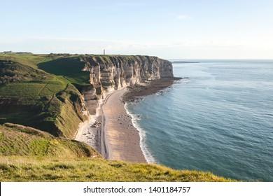 Cliffs of Etretat, upper Normandy, France. The Strait of La Manche