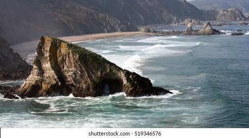 cliffs in Galicia, the north of Spain, Loiba, A Coruña, Spain, where this bank is located with one of the best panoramic views of the most beautiful landscapes. coast, natural,