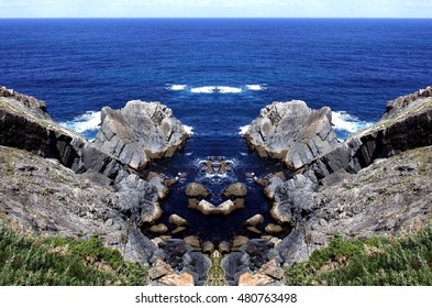 cliffs geometric composition,geometric abstract and surreal landscape of the coast of Galicia, abstract surreal photography North, Cedeira, La Coruna,Spain, Geology forms,