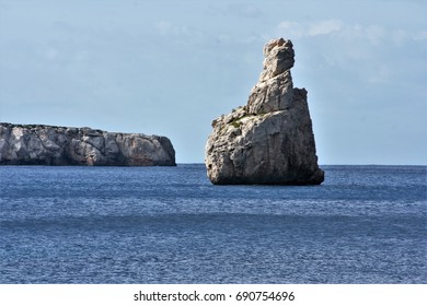 cliffs in Ibiza, Views of Ibiza Balearic Islands, blue sea,Mediterranean sea, favorite destination of foreign tourists in Spain
