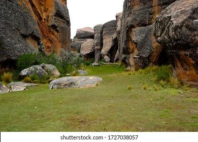 Cliffs from inside a slot canyon in Torotoro National Park, near Potosi, Bolivia