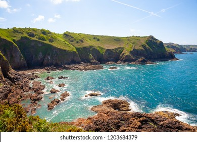 Cliffs of the Island of Jersey in the English Channel