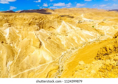Cliffs and landscape, viewed from Masada, on the eastern edge of the Judaean Desert, Southern Israel