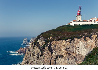cliffs with light house at atlantic coast in portugal