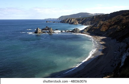 ,Cliffs of Loiba, famous for its sharp spiers, inaccessible beaches, for having the bank with the best views of the world, near Cape Ortegal and the Cape Stake bars in the Ortegal cove