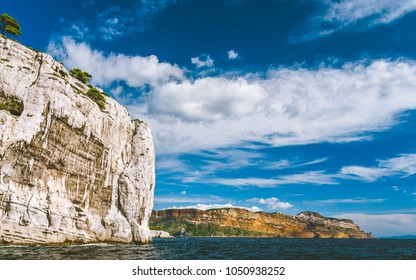 Cliffs of Massif des Calanques against blue sky in Cassis, France