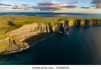 Cliffs of moher aerial , county clare, ireland. unesco global geopark European Atlantic Geotourism Route landscape and seascape tourism attraction along the wild atlantic way. beautiful rural ireland