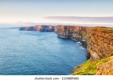 Cliffs Of Moher, County Clare, Ireland. Panoramic picture