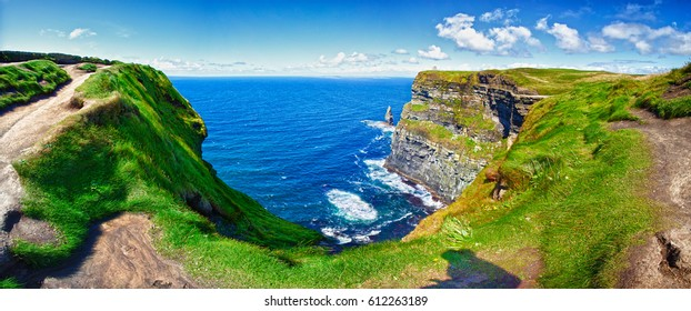 Cliffs Of Moher, County Clare, Ireland. Panoramic.