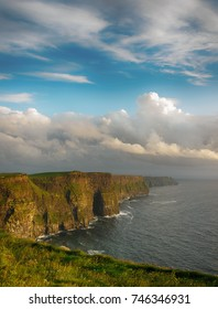 Cliffs of moher , county clare, ireland. Ireland's number 1 scenic landscape and seascape tourism attraction along the wild atantic way. beautiful rural irish countryside sunset picture.