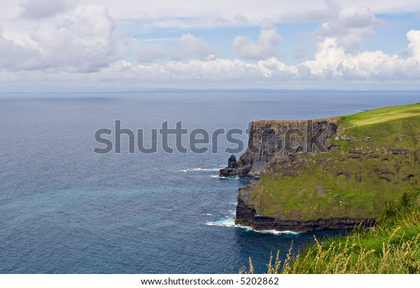 The Cliffs of Moher in County Clare, Ireland. This is on the Atlantic Ocean shoreline.