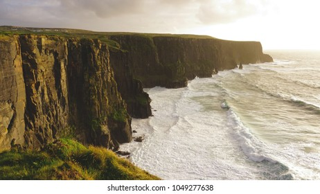 cliffs of Moher, during sunset golden hour.