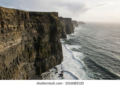 The Cliffs of Moher during the sunset, at the southwestern edge of the Burren region in County Clare, Ireland.