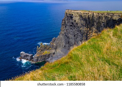 Cliffs of Moher with farm field and ocean, Doolin, Clare, Ireland